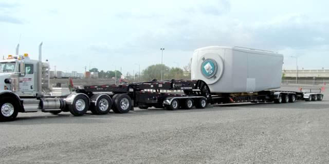 XL Lightweight 13 Axle West Coast Trailer Hauling a Wind Turbine